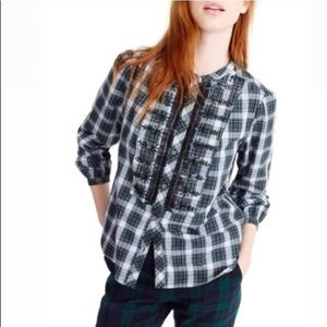 J Crew NWT Plaid beaded button down blouse size PS
